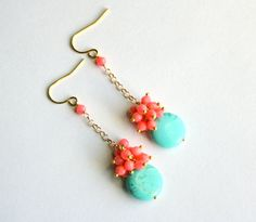 long-coral-earrings-turquoise-peach-pink via Etsy