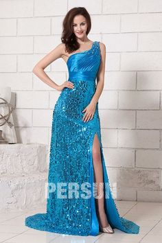 Blue Gorgeous One Shoulder Long Prom Dress With Sequins