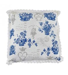FABRIC FILLING CUSHION W_BLUE FLOWER 45Χ45