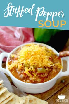 This easy Stuffed Pepper Soup has all the flavors of stuffed peppers but in a soup. Ground beef peppers rice broth and seasonings! Christmas Recipes Dinner Main Courses, Easy Holiday Recipes, Thanksgiving Recipes, Fall Recipes, Soup Recipes, Dinner Recipes, Cooking Recipes, Healthy Recipes, Steak Recipes