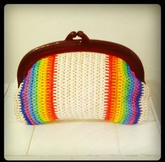 """My favorite vintage rainbow straw purse. I named it """"Have a wonderful day purse"""" (^_−)−☆"""