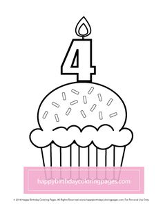 FREE Cupcake Coloring Page – Happy Birthday Coloring Pages Cupcake Coloring Pages, Happy Birthday Coloring Pages, Colouring, Printables, Free, Decor, Decoration, Print Templates, Dekoration