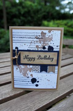 Inspiration - I always need it for those Guy cards. I like the background. I need to start making my own background paper. Gorgeous Grunge Masculine Happy Birthday Card Banner Punch