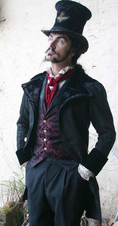 This may be the best costume for Dimitri -- Black Tapestry Cloth and Velvet Steampunk Frock Cutaway Swallowtail Wedding Jacket, Vest, Trousers, Frilly Shirt and Cravat Mode Steampunk, Style Steampunk, Steampunk Cosplay, Steampunk Wedding, Victorian Steampunk, Steampunk Clothing, Steampunk Fashion, Gothic Fashion, Gothic Clothing
