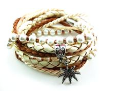 Wickelarmbänder - Leder-Wickelarmband in Nude-Optik - ein Designerstück von catchinsky bei DaWanda