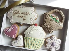Get well soon cookie gift box (can be personalised, free UK shipping)