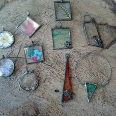 New... Beautiful flower jewelry from glass and solder
