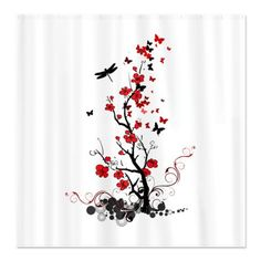 Black and Red Flowers Shower Curtain  So far my top selling shower curtain!