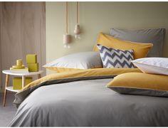 Linge de lit - #taupe #safran Parure de lit - linge de maison - housse de couette Percale de coton Blanc Cerise
