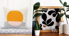Initiez-vous à la broderie Punch Needle et faites le plein d'inspiration pour des projets déco DIY originaux et uniques! Julie Robert, Diy Original, Punch Needle, Throw Pillows, Blanket, Inspiration, Decor, Gems, Art