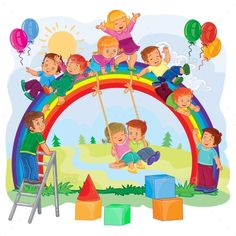 Buy Carefree Young Children Playing on the Rainbow by vectorpocket on GraphicRiver. Vector illustration of a carefree young children playing on the rainbow Children Holding Hands, Baby Elefant, Kids Background, School Painting, Kids Swing, Boy Illustration, School Decorations, Child Day, Cartoon Kids