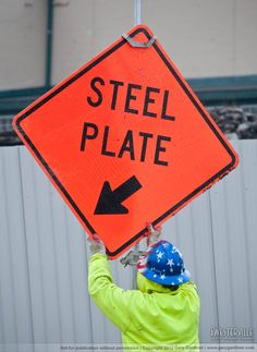 Warning - steel plate ahead