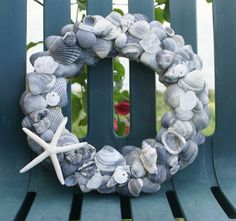 Blue seashell wreath Beachcomber Bling by JustShellin on Etsy