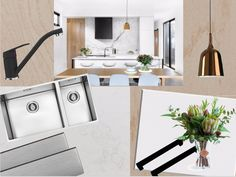 Create a classic, contemporary space with black white and mixed metals - featuring our EcoGranit Gulf Sink Mixer, Robiq Sink, Furnipart Edge Straight handles in Brushed Anthracite, Sarnen handles in black, Eurostone bench in Absolute White and Splashback - Glacier Nova.