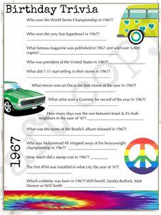 1967 verjaardag Trivia Game Verjaardag partij Trivia