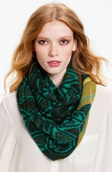 Collection XIIX 'Diamond Folk Print' Infinity Scarf Womens Indian Green One Size