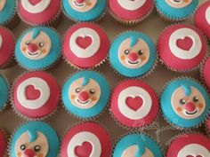 Plim plim cupcakes Second Birthday Ideas, 2nd Birthday, Cupcakes, Ideas Para Fiestas, Fondant, Themed Parties, Circus Cookies, Clown Cake, Candy Stations