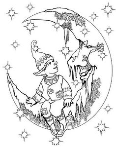 Fairy Coloring Pages for Adults   ... sitting on the moon to print and color these fairy coloring pages