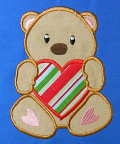 Valentine Bear Holding Heart Applique by NewfoundApplique on Etsy, $2.49