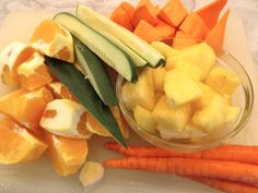 "Super ""Orange"" Sunrise Juice 1 cucumber 1 medium sweet potato 3 oranges 3 carrots 2 cups pineapple 1/2 nub ginger www.thewoodenspoondiaries.blogspot.com"