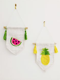 Mini Pineapple and Mini Watermelon Wall Banner - wall hanging.linen and felt | Hello Pippo | madeit.com.au
