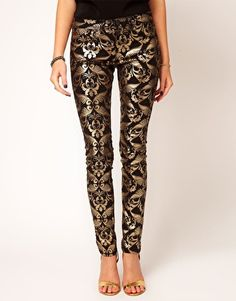 Want: Skinny Jeans In Metallic Baroque Print