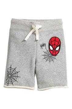 Sweatshirt shorts - Grey/Spiderman - Kids | H&M GB