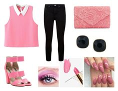 """""""Pink :)"""" by aida1412 ❤ liked on Polyvore featuring Michael Antonio, ABS by Allen Schwartz, MDMflow and Paige Denim"""