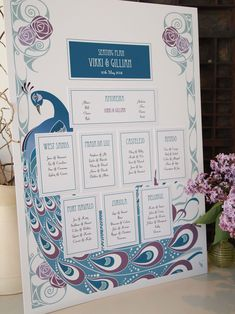 Wedding Seating Plan - Art Deco Peacock in turquoise blues and purples