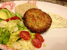 Asian Style Crab Cake with Wassabi Caper Sauce & Brown Rice