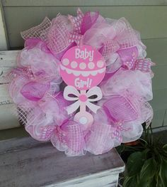 Items similar to Baby Girl Deco Mesh Wreath on Etsy Wreath Crafts, Diy Wreath, Wreath Ideas, Wreath Making, Baby Door Wreaths, Burlap Wreaths, Baby Deco, Diaper Wreath, Tulle Wreath