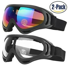 Ski Goggles, 2-Pack Skate Glasses for Kids, Boys & Girls, Youth, Men & Women, with UV 400 Protection, Wind Resistance, Anti-Glare Lenses, made by COOLOO