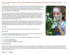 Win Tickets To The 2013 Melbourne International Flower & Garden Show Win Tickets, Garden Show, Rock Concert, Melbourne, Flower, Flowers