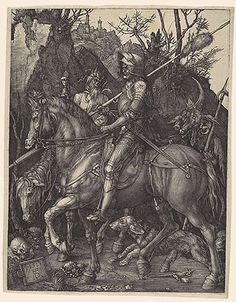 Knight, Death, and the Devil, 1513–14  Albrecht Dürer (German, 1471–1528)  Engraving   Dürer's Knight, Death, and the Devil is one of three large prints of 1513–14 known as his Meisterstiche (master engravings). The other two are Melancholia I and Saint Jerome in His Study.