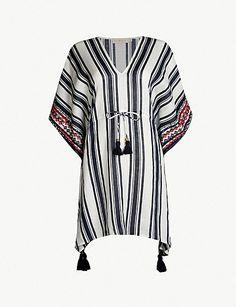 b3a7d63e7f0da4 TORY BURCH Ravena striped linen kaftan Striped Linen, Cropped Trousers,  Swimsuits, Swimwear,