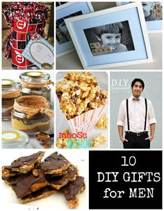 10 Fun DIY Gifts For The Guys in Your Life ~  >SuperDad Treat Box >Personalized Framed Photos >Almond Roca >Comic Book Coasters >Moose Munch >Sports Blanket >Pegboard Tool Organizer & MORE!  Links @: http://somewhere-in-the-middle.com/10-fun-diy-gifts-for-the-guys-in-your-life/