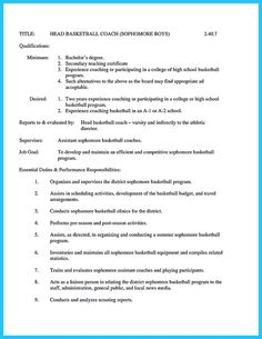 Awesome Captivating Thing For Perfect And Acceptable Basketball  Basketball Coach Resume