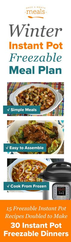Check out these delicious freezer meals for your Instant Pot! You'll love our Orange Chicken and Stuffed Cabbage Rolls. With 15 dinners you can double to make 30 meals, you'll get use out of your Instant Pot this winter!