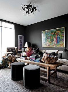 Black walls in living room.