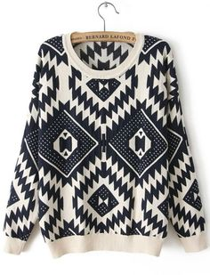Beige Long Sleeve Geometric Pattern Sweater