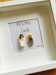Large (25x25cm) Wedding Lego Minifigue Shadowbox Frames are available in either black or white. With Fully customisable text and a variety of bride and groom options available. With over 100 fonts to choose from and a choice of suggested messages to add to your box, or the option to write your own.   £30 + P&P