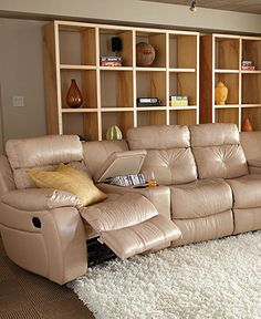 Justin Leather Sectional with Vinyl Sides u Back Living Room Furniture Sets u Pieces Reclining