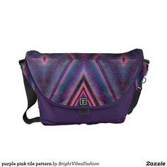 Customizable purple pink tile pattern courier bag messenger bag