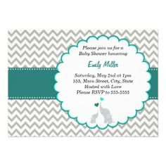 Teal Chevron Baby Shower Flat Card Invitation