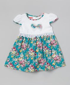 Look what I found on #zulily! Turquoise Floral Lace Dress - Toddler & Girls by Hi-D #zulilyfinds