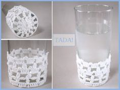 crochet glass cozy