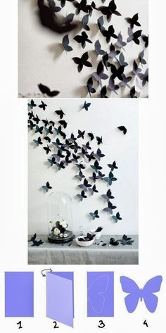 DIY: Butterfly Interior Decor. How cute maybe I can do yellow butterflies or ombre style :)