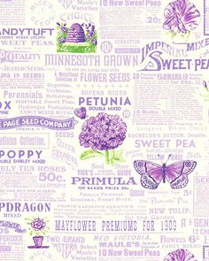 Sausalito Cottage - Vintage Seed Catalogue - Radiant Orchid background.  From eQuilter.com