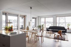a wooden decored apartment in Helsinki