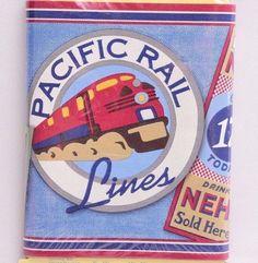 Restore Restyle Lids Wallpaper Border Pacific Rail Lines NEW Train Aviation #RestoreRestyleKids